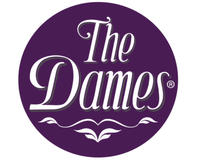 The Dames Registered Logo in Purple Circle